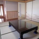 花梨無垢の座敷机 ガラストップ