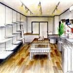 店舗デザイン 城崎温泉Eternal Flow様 室内手描きイメージパース