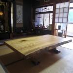 楠クスノキ一枚板テーブル ダイニング座卓兼用脚