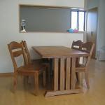 ナラ無垢 うづくり仕上げテーブルセット