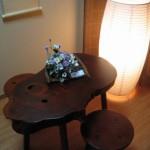 ケヤキ一枚板小テーブルセット