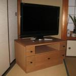 柿渋塗りナラ無垢TV台
