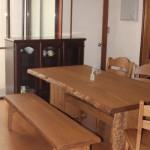 栗一枚板テーブル&ナラ無垢チェア うづくり仕上