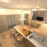 ナチュラルモダンインテリア,メープル無垢材の家具でコーディネート